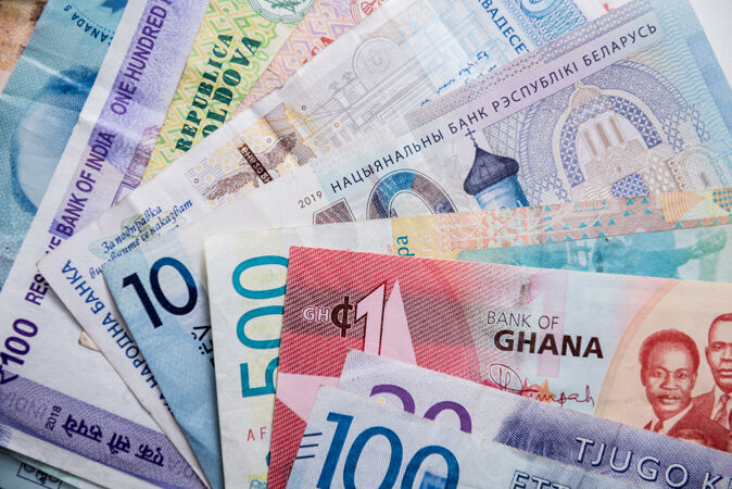 不同国家的纸币背景
