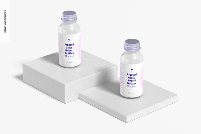 1盎司磨砂玻璃圆瓶模型 透视图