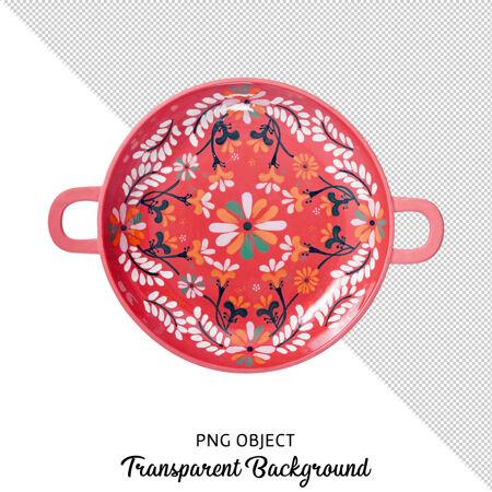 图案民族圆形餐盘顶视图