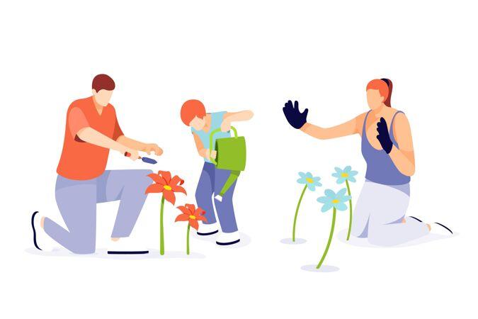 人们照顾植物的平面插图