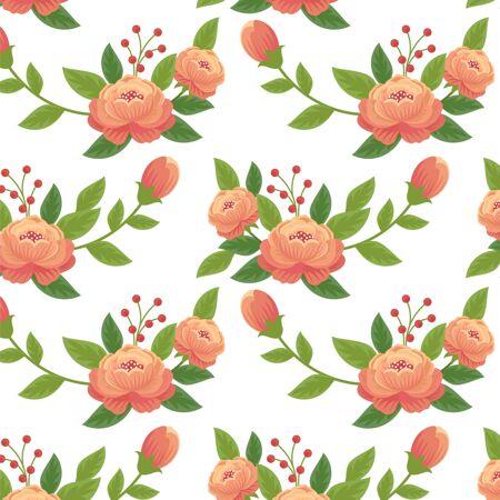 桃色手绘花卉图案设计