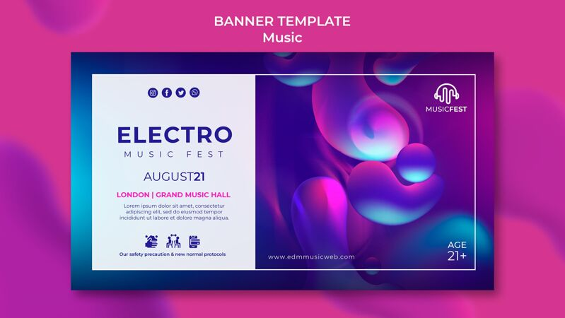 横幅模板电子音乐节与霓虹灯液体效果形状