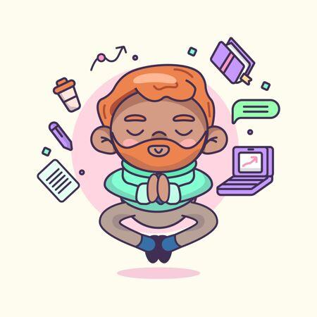 卡通商人静心冥想