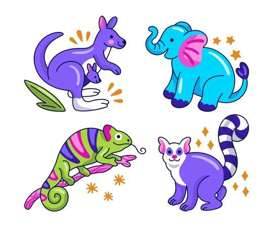 收集创意动物贴纸