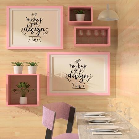 餐厅模型中的海报框架