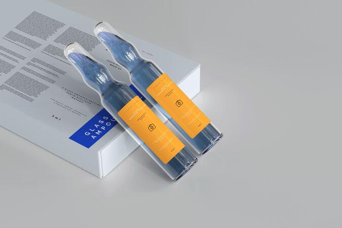 玻璃安瓿和盒子模型